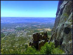 La Cabrera town from the granite ridge of La Sierra de La Cabrera