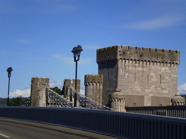 Suspension bridge and tower.