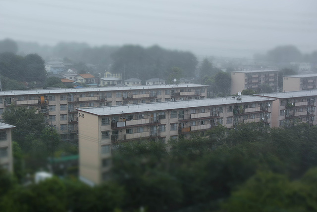Apartment buildings in a storm
