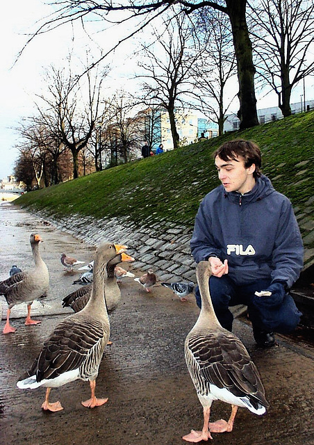 Chatting up the birds.