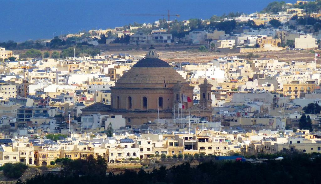MT - Mdina - View towards Mosta's Rotunda