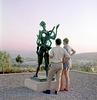 Admiring (?) a sculpture in Billy Rose Art Garden Jerusalem
