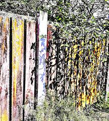 Shadows on fence.