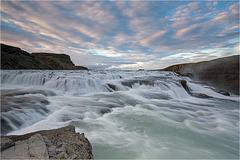 Gullfoss: The upper fall after sunset
