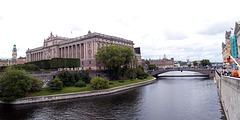Stockholm, Helgeandsholmen and Sveriges Riksdag from Strömgatan