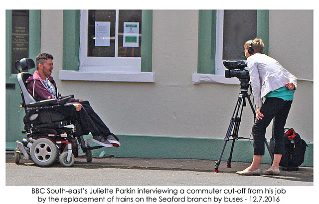 BBC interviews disabled commuter - Seaford - 12.7.2016 with caption