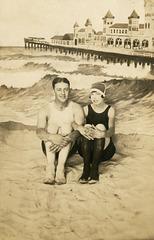 Man and Woman on a Fake Beach, Atlantic City, N.J., July 5, 1925