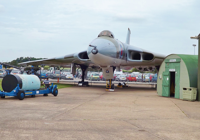 The Mighty Vulcan flanked by the Yellow Sun Nuclear bomb and the Museum's Engine Shed