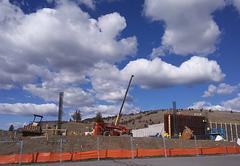 Construction under clouds