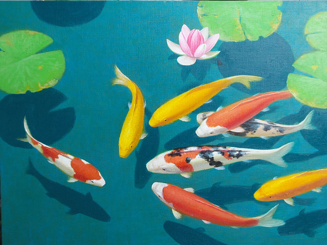 Colorful fish and lotus 2 =Belaj fisxoj kaj lotuso 2 =연못 속의 비단잉어 2(多色魚與蓮葉 2)_oil on canvas=유채_53X65.2cm(15p)_2015_Song Ho