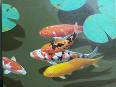 Colorful fish and lotus =Belaj fisxoj kaj lotuso =연못 속의 비단잉어(多色魚與蓮葉)_oil on canvas=유채_37.9X45.5cm(8f)_2015_Song Ho