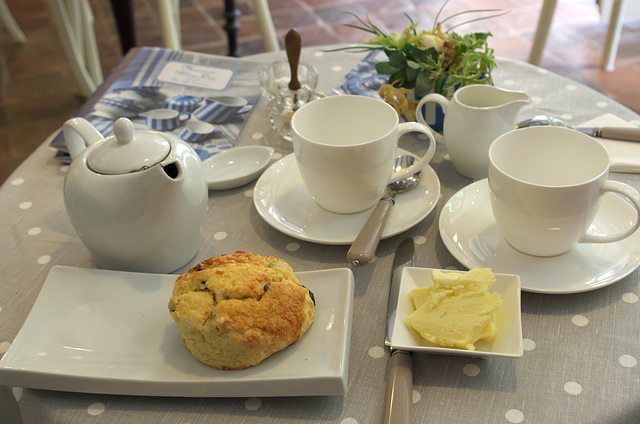 Having tea and scones in France!