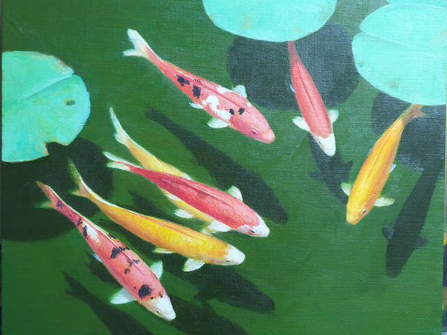 Colorful fish and lotus 3 =Belaj fisxoj kaj lotuso  =연못 속의 비단잉어 3(多色魚與蓮葉 3)_oil on canvas=유채_37.9X45.5cm(8f)_2015_Song Ho