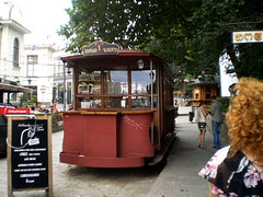 Old tram used for tourist information.