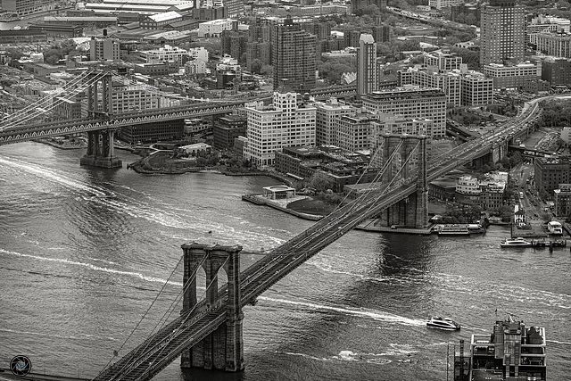 East River with Brooklyn Bridge and Manhattan Bridge