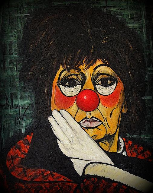 mes peintures, une copie en 1971, d'après une photo d'une actrice déguisée en clown , dans une revue de l'époque