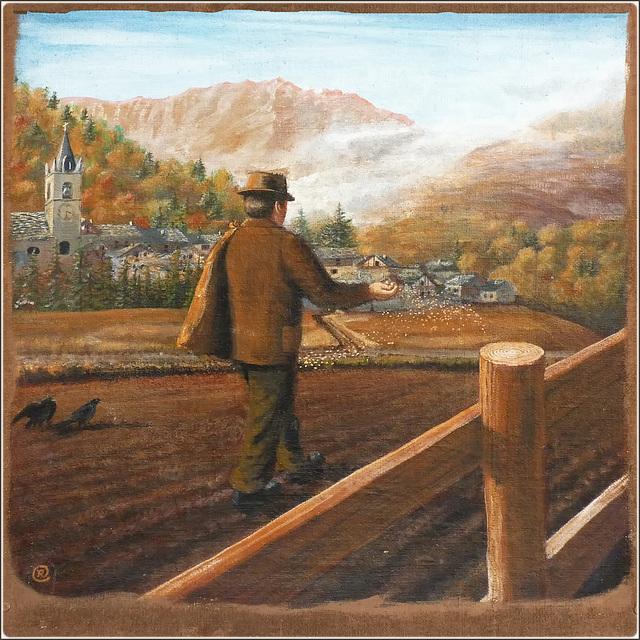 Usseaux : Arti e mestieri nei murales del paese - la semina -