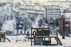 Park, playground and fences