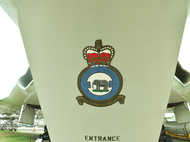 Vulcan XM594 Proudly displaying the Badge of No. 44 Rhodesia Squadron on her entrance door