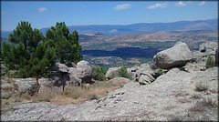 Sierra de La Cabrera, granite country. Looking down onto the Lozoya Valley.
