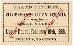 Altoona City Band, Grand Concert Ticket, Altoona, Pa., February 16, 1888