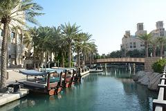 U.A.E., Dubai, Canal and Pleasure Boats in Madinat Jumeirah Park