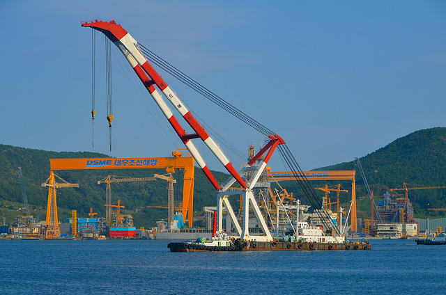 Okpo Bay and DSME shipyard