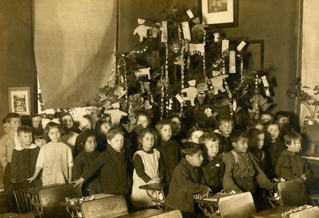 Schoolkids with Their Christmas Tree