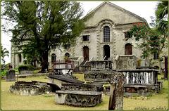 Antigua : Saint John's Cathedral  e il vecchio cimitero