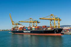 """Containerschiff """"Tolten"""" Hapag-Lloyd beim Beladen"""