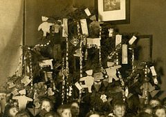 Schoolkids with Their Christmas Tree (Decorations on the Tree)