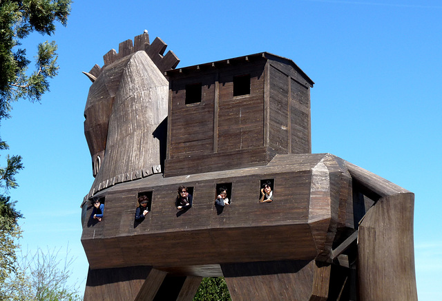 Troy- Tourists Inside the 1975 Representation of the Wooden Horse