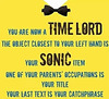 time lord, sonic object, title,catch phrase