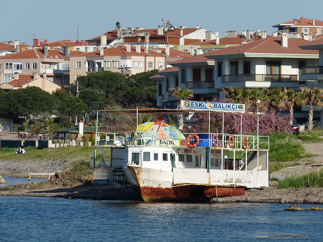 Ayvalik- Old Boat Serving as a Cafe