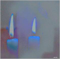 ...blue flames...