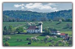 Berg Kirche von Wilchingen  mit dem Pfarrhaus
