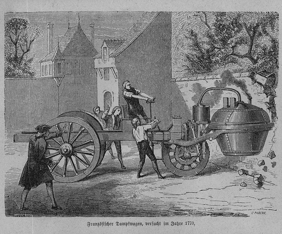 French people crash a steam vehicle into a wall in 1770