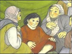 Jesuo estas retrovita de la gepatroj sidanta inter la leĝinstruistoj