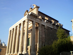Temple of Antoninus and Faustina, as a shield of Saint Lawrence of Miranda Church.