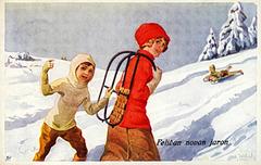 Novjara bildkarto kun sledantinoj -  ĉ. 1910