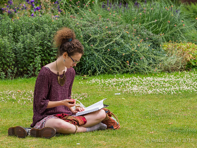 Reading in the park.