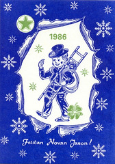 Novjara bildkarto kun kamentubisto kaj verda stelo - 1985