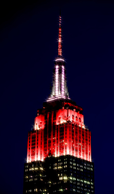 Empire State Building  'Heartbeat of America' (a.k.a. 'Siren') Lights  in Honor of Healthcare Workers