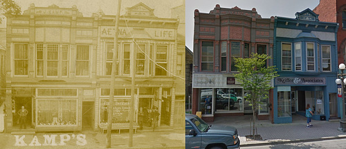 Jacob Kamp's Shoe Store, Lock Haven, Pa., ca. 1890s (Then and Now)