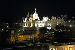 Good to see the Union Flag flying so prominently in this night view over Princes Street in Edinburgh, from The New Club