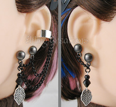 Leaf Earrings Double Lobe Piercing Cartilage Ear Cuff