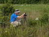 Kelvin Taylor photographing Platanthera conspicua (Southern White Fringed orchid)