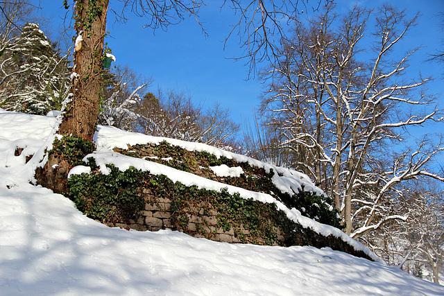 Trockenmauer im Schnee