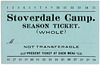 Stoverdale Camp, Season Meal Ticket, 1932