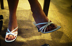 wife in white BP sandals